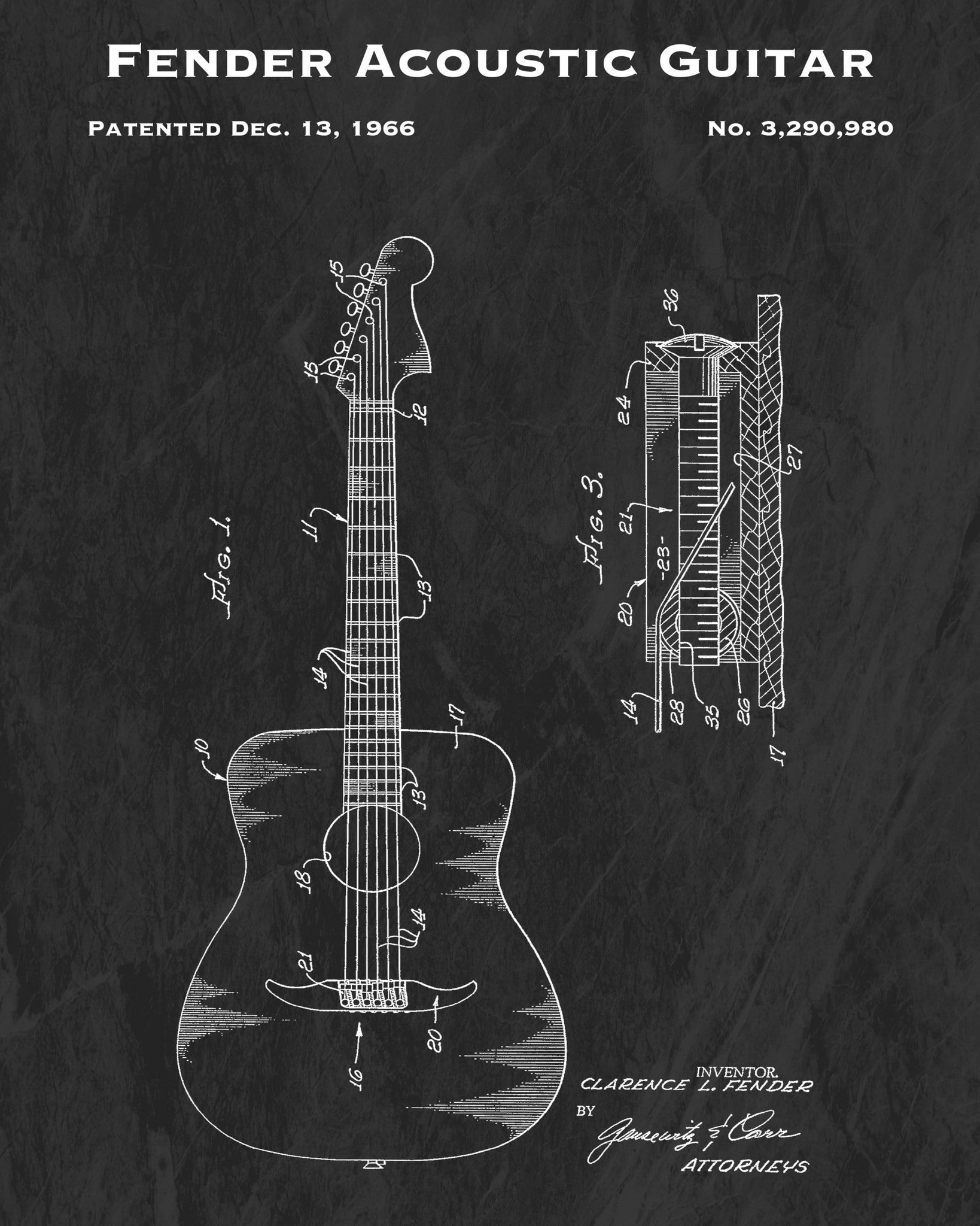 1966 Fender Acoustic Guitar Patent Art Print