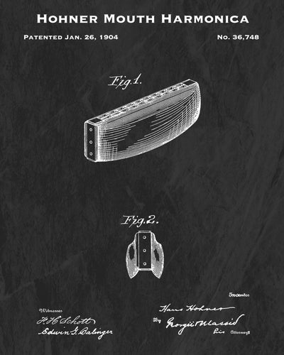 1904 Hohner Mouth Harmonica Patent Art Print