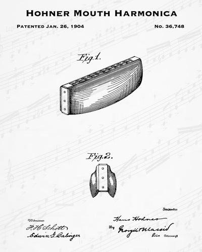 1904 Hohner Mouth Harmonica Patent - 8X10 Digital Download Patent