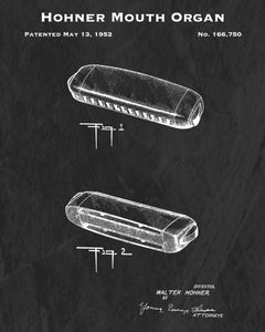 1952 Hohner Mouth Organ Patent Art Print