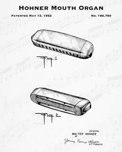 1952 Hohner Mouth Organ Patent - 8X10 Digital Download Patent