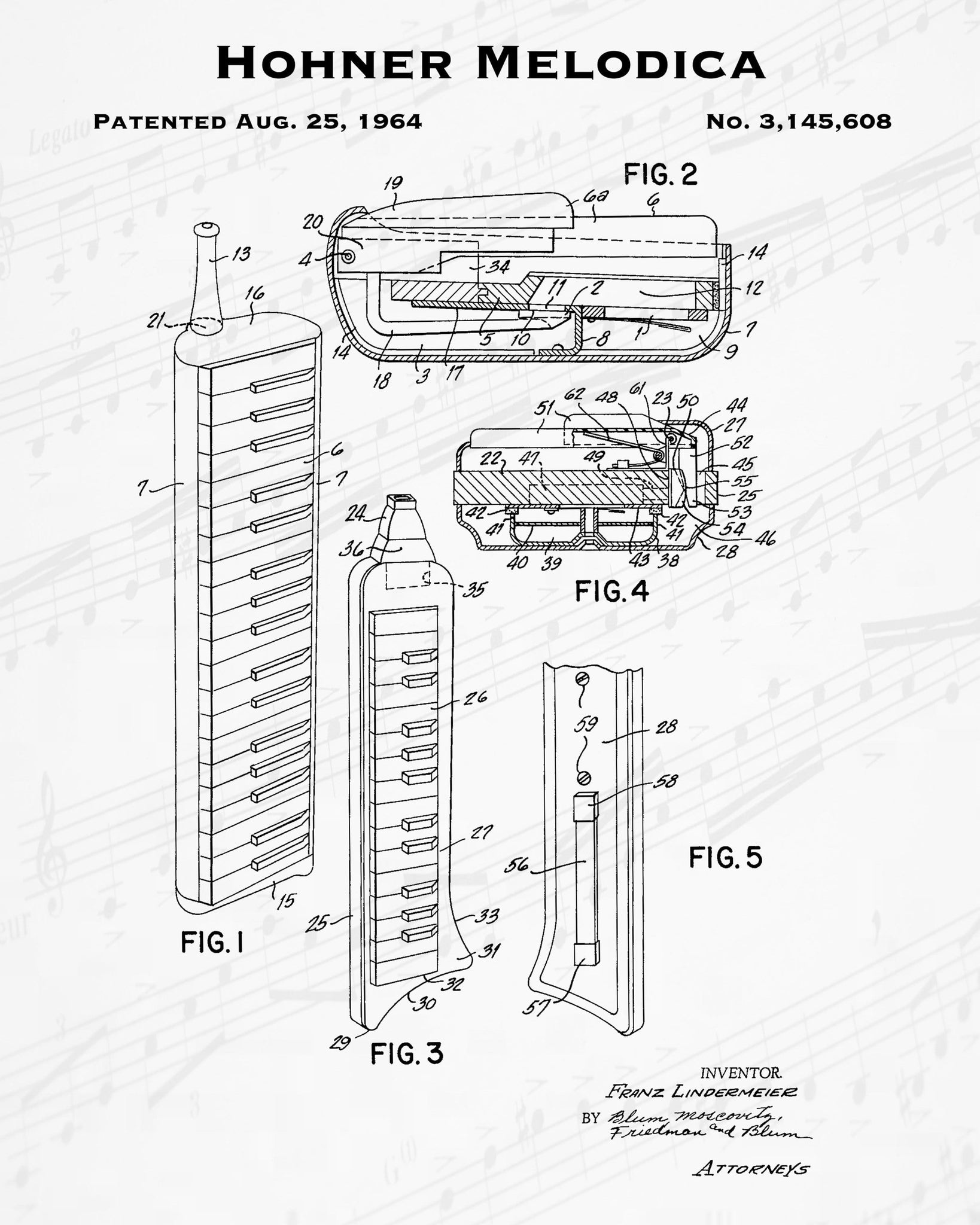 1964 Hohner Melodica Patent - 8X10 Digital Download Patent