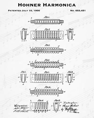 1900 Hohner Harmonica Patent - 8X10 Digital Download Patent