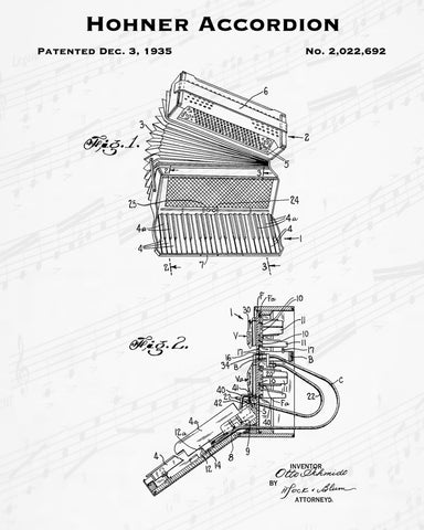 1935 Hohner Accordion Patent - 8X10 Digital Download Patent