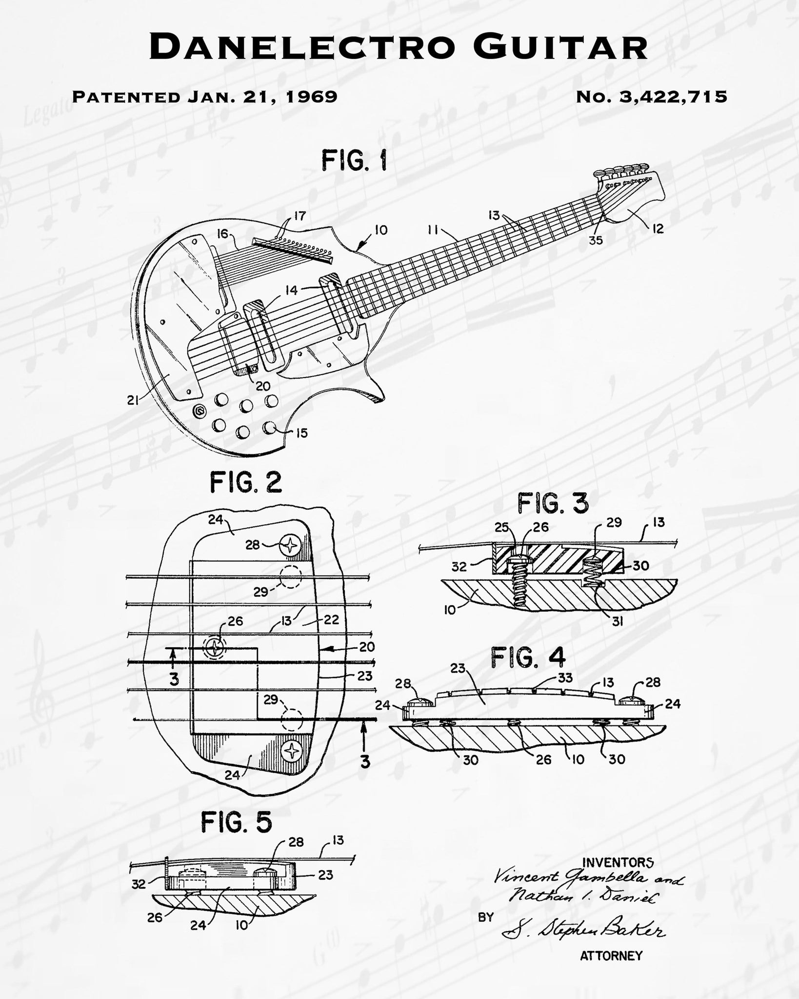 1969 Danelectro Guitar Patent - 8X10 Digital Download Patent