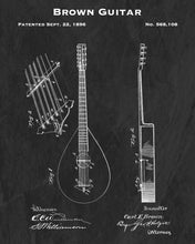 1896 Brown Guitar Patent Art Print