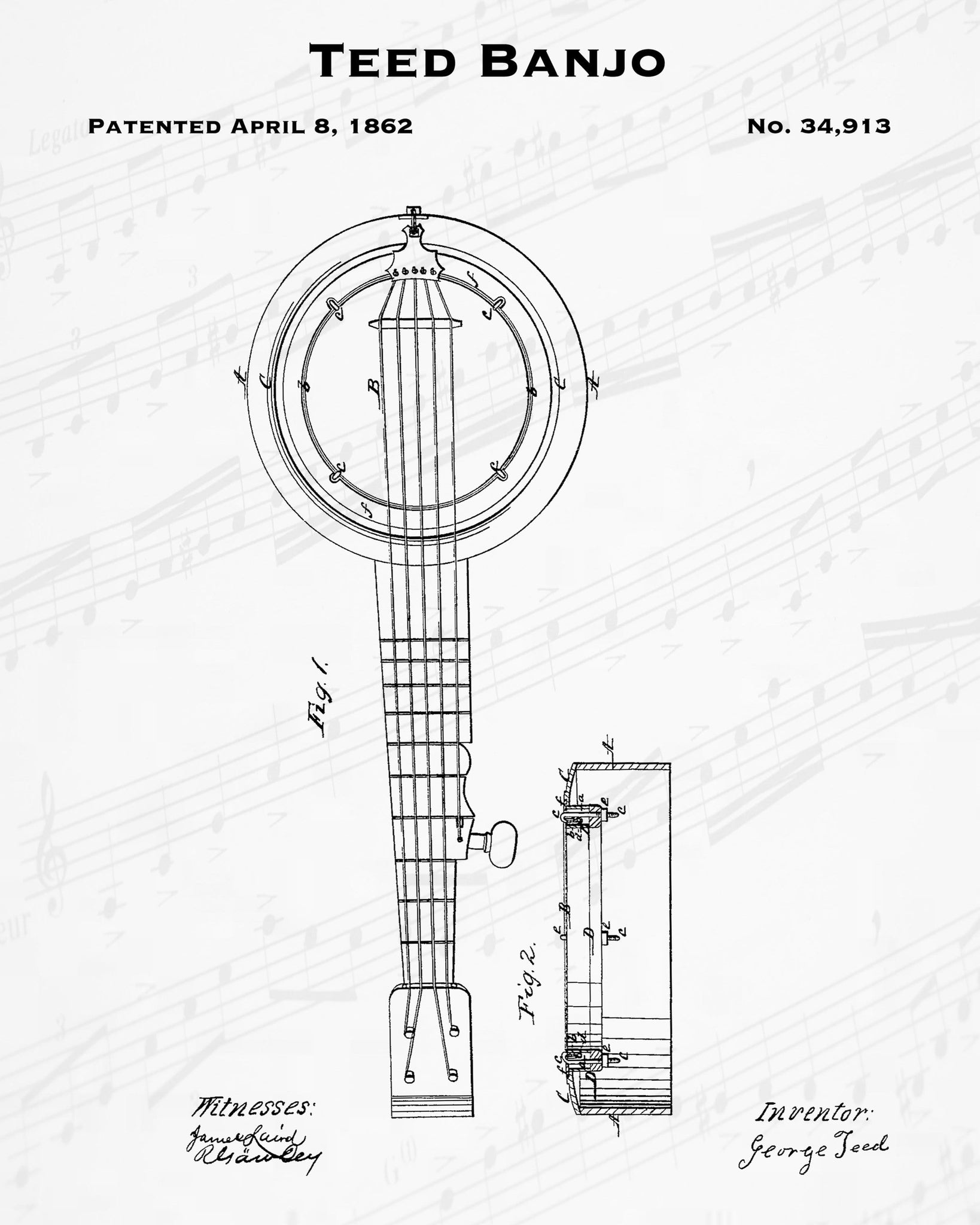 Teed Banjo Patent - Cheap Digital File - Stringed Instrument Wall Decor