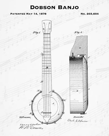 Dobson Banjo Patent - Cheap Digital File - Quick Birthday Present - Music Lover Gift