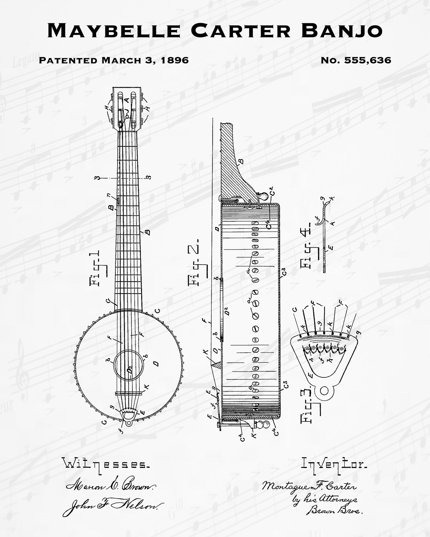 1896 Maybelle Carter Banjo Patent - 8X10 Digital Download Patent