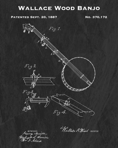 1887 Wallace Wood Banjo Patent Art Print
