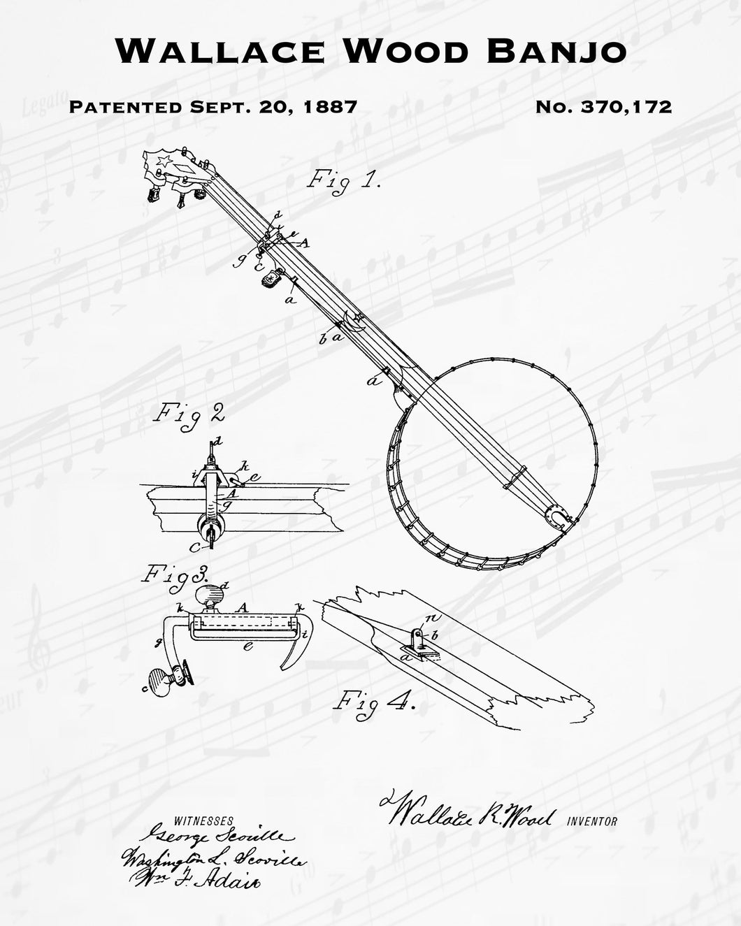 1887 Wallace Wood Banjo Patent - 8X10 Digital Download Patent