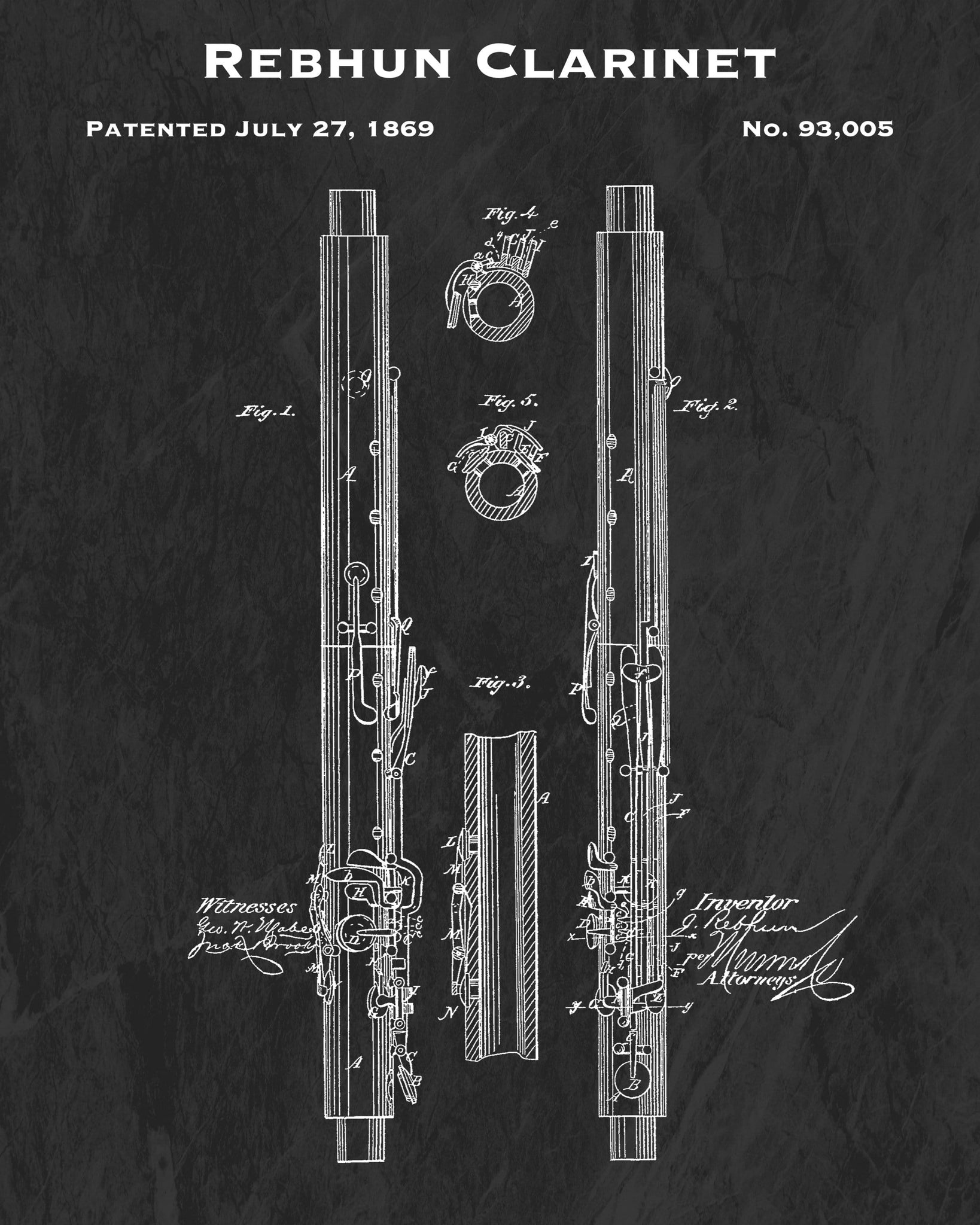 Rebhun Clarinet Patent Art Print - Music Lover Wall Hanging - Antique Woodwind Instrument