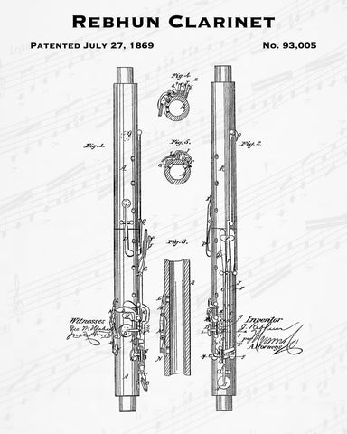 Rebhun Clarinet Patent - Cheap Digital File - Quick Birthday Present - Music Lover Gift
