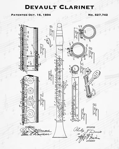 1894 Devault Clarinet Patent - 8X10 Digital Download Patent