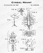 1982 Cymbal Mount Patent - 8X10 Digital Download Patent