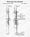 1926 Potter Clarinet Patent - 8X10 Digital Download Patent