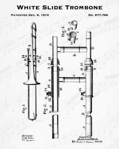 1910 White Slide Trombone Patent - 8X10 Digital Download Patent