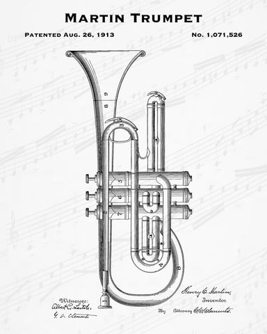 1913 Martin Trumpet Patent - 8X10 Digital Download Patent