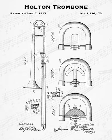 1917 Holton Trombone Patent - 8X10 Digital Download Patent