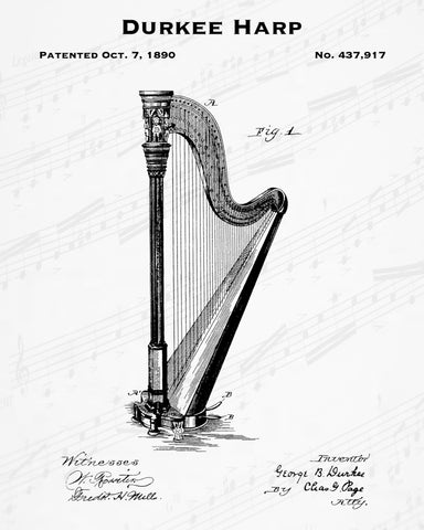 1890 Durkee Harp Patent - 8X10 Digital Download Patent