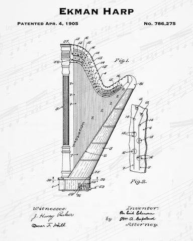 1905 Ekman Harp Patent - 8X10 Digital Download Patent