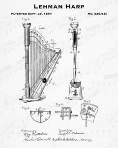 1894 Lehman Harp Patent - 8X10 Digital Download Patent