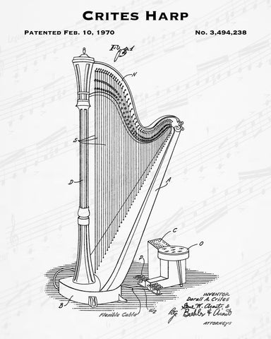 1970 Crites Harp Patent - 8X10 Digital Download Patent