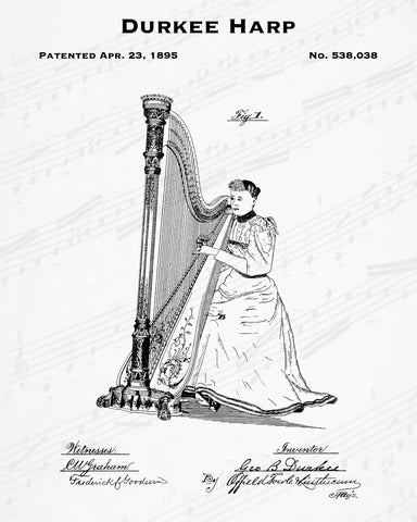 1895 Durkee Harp Patent - 8X10 Digital Download Patent