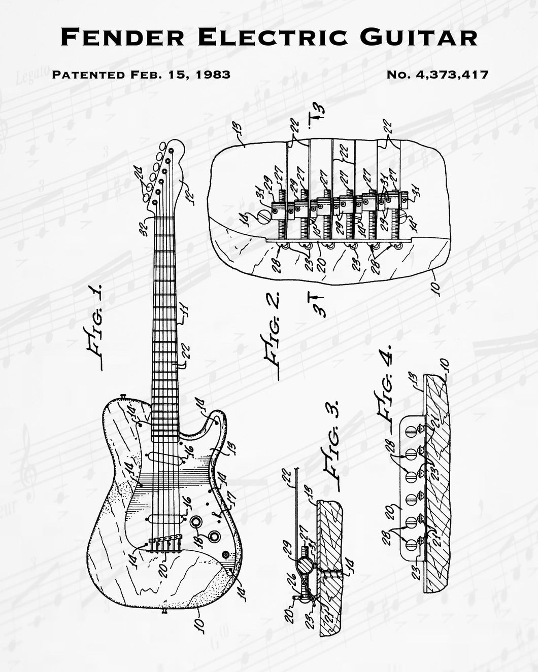 1983 Fender Electric Guitar Patent - 8X10 Digital Download Patent