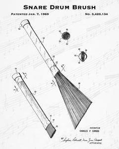 1969 Snare Drum Brush Patent - 8X10 Digital Download Patent