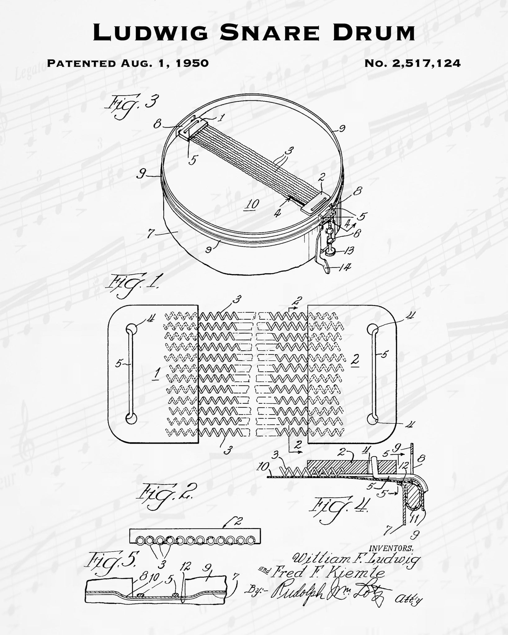 1950 Ludwig Snare Drum Patent - 8X10 Digital Download Patent