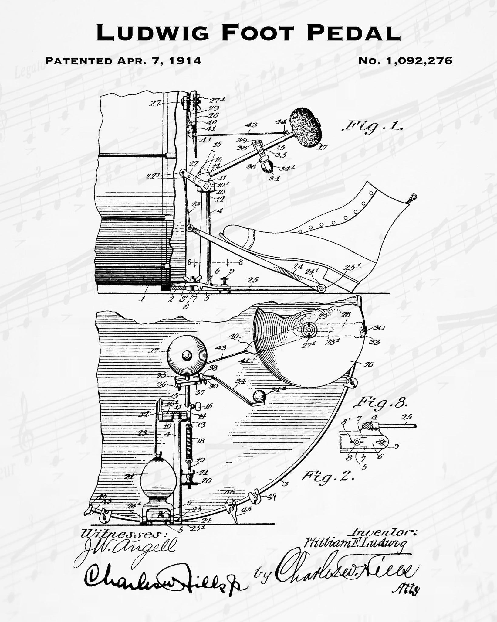 1914 Ludwig Foot Pedal Patent - 8X10 Digital Download Patent