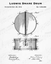 1912 Ludwig Snare Drum Patent - 8X10 Digital Download Patent