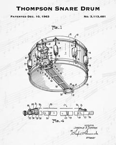 1963 Thompson Snare Drum Patent - 8X10 Digital Download Patent