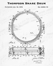 1972 Thompson Snare Drum Patent - 8X10 Digital Download Patent