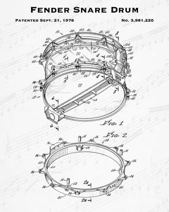 1976 Fender Snare Drum Patent - 8X10 Digital Download Patent