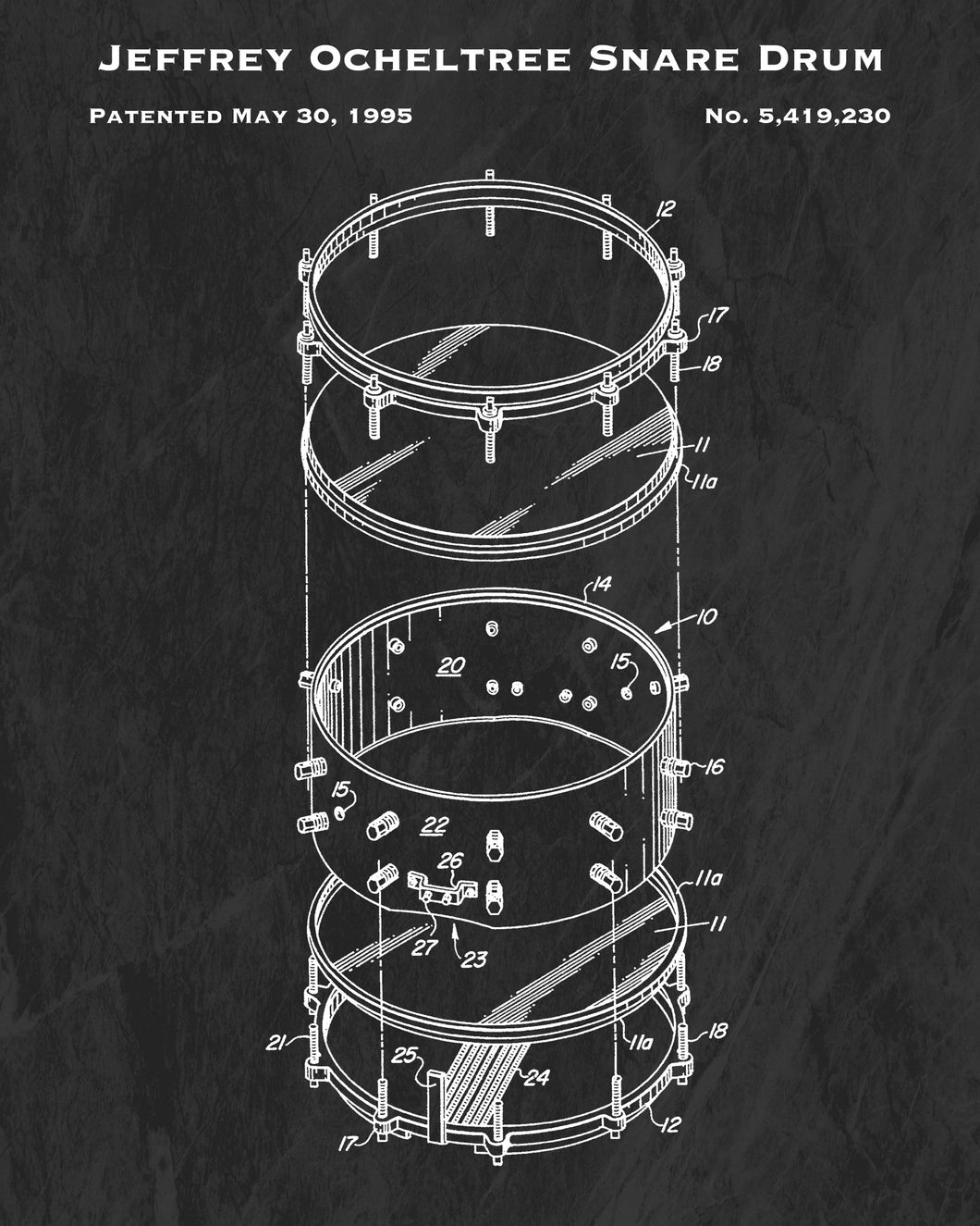 1995 Jeffrey Ocheltree Snare Drum Patent Art Print