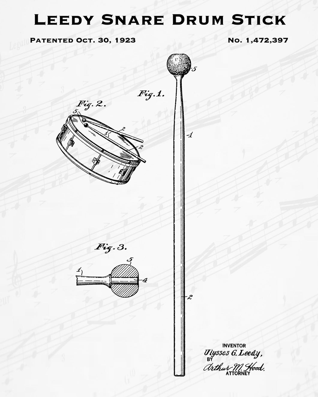 1923 Leedy Snare Drum Stick Patent - 8X10 Digital Download Patent