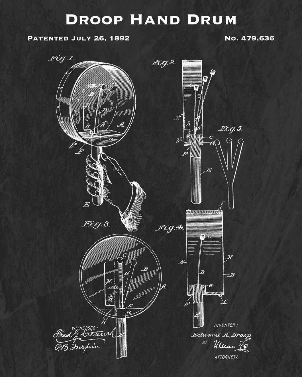1892 Droop Hand Drum Patent Art Print