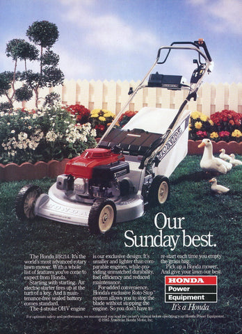 Honda Lawnmower Print Advertisement - Outdoor Equipment Decor - Man Cave Wall Hanging