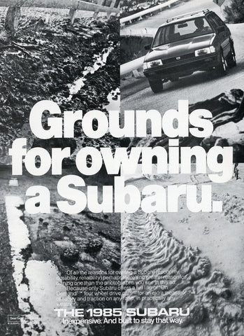 Subaru Car Print Advertisement - Car Enthusiast Gift Art - Man Cave Wall Hanging