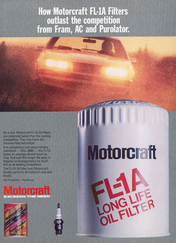 Motorcraft Oil Filter Advertisement - Car Enthusiast Gift Art - Man Cave Wall Hanging
