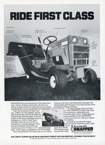 Snapper Lawnmower Print Advertisement - Outdoor Equipment Decor - Man Cave Wall Hanging