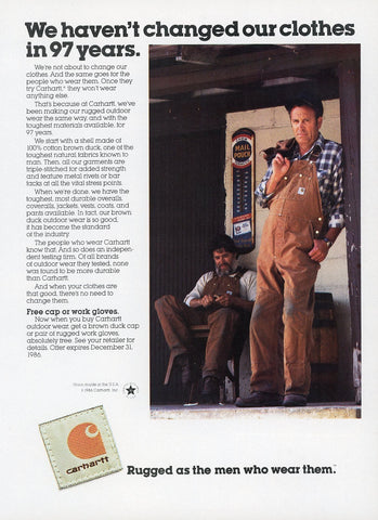 Carhartt Clothing Advertisement - Vintage Clothing Print Ad - Living Room Wall Hanging