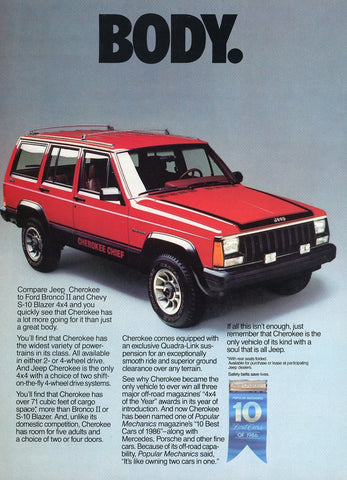 Jeep Cherokee Print Advertisement - Car Enthusiast Gift Art - Man Cave Wall Hanging