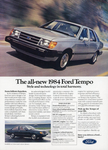 1984 Ford Tempo Print Advertisement - Car Enthusiast Gift Art - Man Cave Wall Hanging