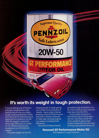 Pennzoil Motor Oil Print Advertisement - Car Enthusiast Gift Art - Man Cave Wall Hanging