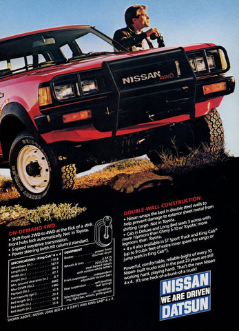Nissan Long Bed 4WD Truck Advertisement - Truck Enthusiast Gift Art - Man Cave Wall Hanging