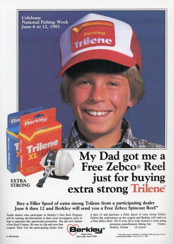 Berkley Trilene Fishing Line Print Advertisement - Zebco Reel Print Ad - Fishing Enthusiast Gift Art