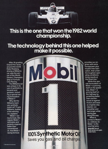 Mobil 1 Motor Oil Print Advertisement - Car Enthusiast Gift Art - Man Cave Wall Hanging